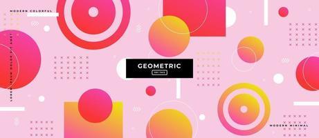 Memphis Style Gradient Geometric Shapes Background. vector