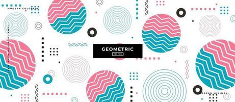 Memphis Style Geometric Circle Cut Background. vector
