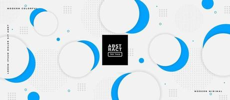 Geometric Blue and White Circle Shapes in White Textured Background. vector