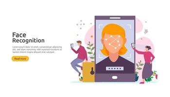 Face recognition data security design. facial biometric identification system scanning on smartphone. web landing page template, banner, presentation, social, poster, ad, promotion or print media. vector