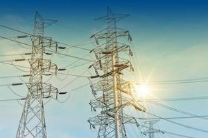 Transmission Electricity line Voltage cable sky background photo
