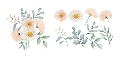 A set of flowers painted in watercolor vector