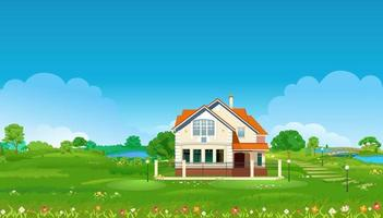 Summer meadow with a house, ponds, green trees and flowers. Summer village landscape. Vector illustration