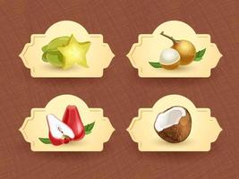 Vector logo for exotic thai fruits, fruits from thailand, packaging sticker, decorative badge with thai fruits illustration. Carambola, longan, rose apple, coconut. Vector illustration