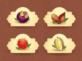 Vector logo for exotic thai fruits, fruits from thailand, packaging sticker, decorative badge with thai fruits illustration. Mangosteen, salacca, rambutan, durian. Vector illustration