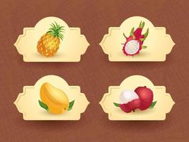 Vector logo for exotic thai fruits, fruits from thailand, packaging sticker, decorative badge with thai fruits illustration. Pineapple, dragon fruit, mango, litchi. Vector illustration