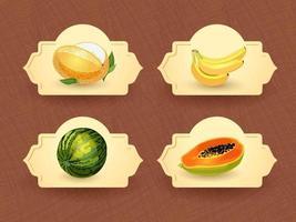 Vector logo for exotic thai fruits, fruits from thailand, packaging sticker, decorative badge with thai fruits illustration. Melon, banana, watermelon, papaya. Vector illustration