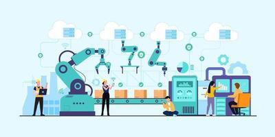 Industry 4.0 factory works robotic arm. Smart industrial revolution vector