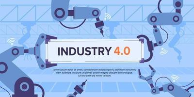Industry 4.0 banner with robotic arm smart industrial revolution vector
