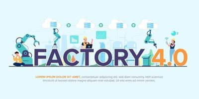 Smart factory Operation of mechanical and process with technology  4.0 vector