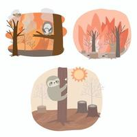 Set of Pollution by forest burning causes global warming vector