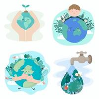 Set banner of Happy Earth with eco nature vector