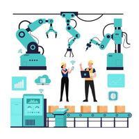 Industry 4.0 banner with robotic arm. Smart industrial revolution vector