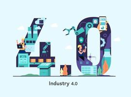 Industry 4.0 banner with robotic arm. Smart industrial numeric vector