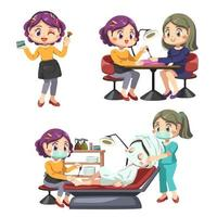 Young Beautician in beauty salon and female client vector