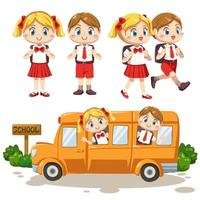 set of  lovely kids in student uniform back to school vector