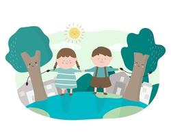 Boy and girl hand in hand with the tree vector