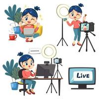 Set of lovely woman use laptop working from home vector