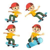 conjunto de adolescente o niño con vector de dibujos animados de sketchboard