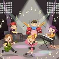 Young teenager music band on stage in cartoon vector