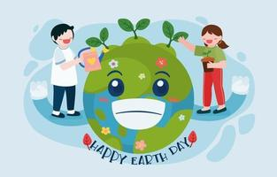 Happy Earth day and World environment day with planting vector