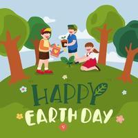 día de la tierra y día mundial del medio ambiente con niños plantando vector