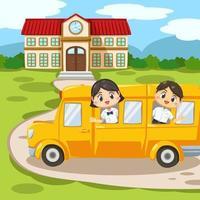 Set of  kids in student uniform back to school vector