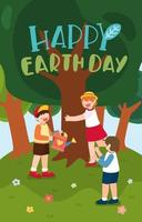 Smile Earth day and World environment day with planting vector
