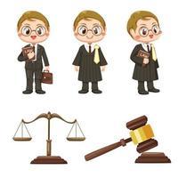 equipo de jueces en vector de personaje de dibujos animados