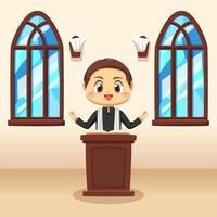 Young catholic priest in Cartoon vector illustration
