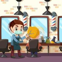 Professional barber making haircut to client with scissors vector