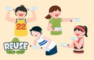 Set of People reuse Plastic bottle for exercise cartoon vector