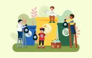 niños clasificando desechos para salvar el vector de dibujos animados del mundo