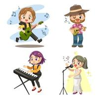 Set of musician band and singer performing cartoon vector