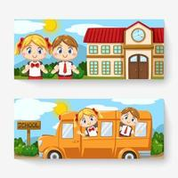 Banner of lovely kids in student uniform back to school vector