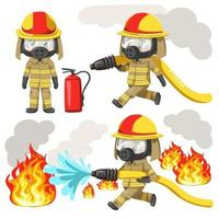 Young man wearing firefighter uniform and Protection Toxic Mask vector
