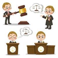 equipo de jueces con martillo de ley y vector de dibujos animados de escala de justicia