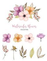 conjunto de hermosa flor en estilo de color de agua vector
