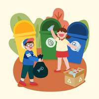 Banner Children sorting out waste to save the world vector