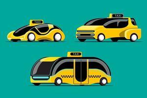 Set of Hitech taxi car in modern design vector