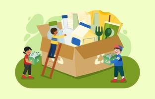 People gathering plastic bottles into large box for Recycle vector