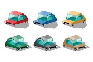 Set of multi colors of fancy cars in cartoon design vector