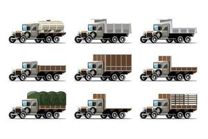 Set  mockup of truck and tank in retro style design vector