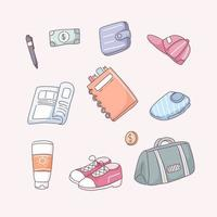 Set of tourists items in cartoon vector illustration