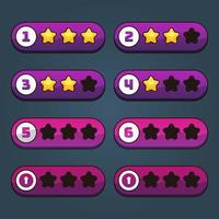 Horizontal game levels and stars set vector