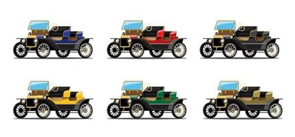 Set  mockup of antique car in retro style design vector