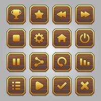 conjunto de botones de marco de madera y oro vector