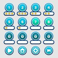 Blue round game levels and buttons interface GUI vector