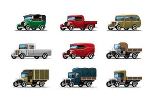 Set of three types of work cars in vintage design vector