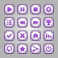 lindo juego cuadrado botón conjunto interfaz gui vector